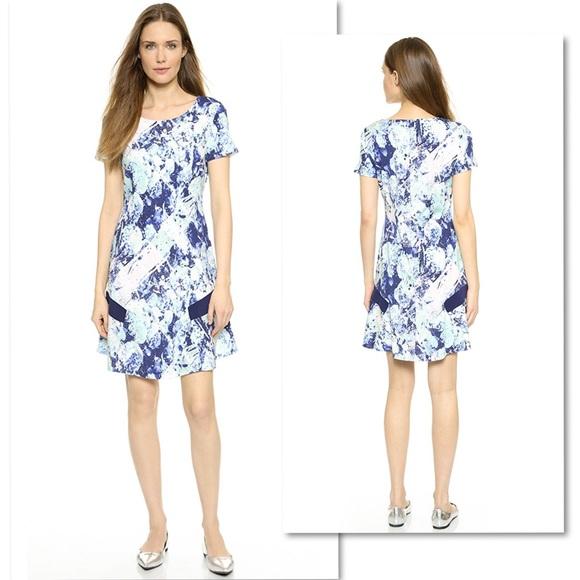 Misha Nonoo Dresses & Skirts - MISHA NONOO SILK PRINT RUFFLE HEM DRESS SZ 6